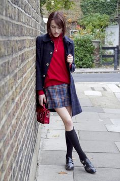 for LD Adorable dark plaid on plaid outfit accented with a pop of red - Blogger Ella Catliff of La Petit Anglaise, wearing: Coat by A.P.C, Jumper by Pure Collection (c/o), Vintage Laura Ashley kilt, Cambridge Satchel Company personalised satchel (c/o), Knee high socks from H&M, Anne Bowes Jewellery Bambi necklace & Basta double monk strap shoes by Oliver Sweeney. #nattygal #womensfashion