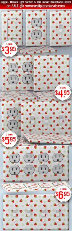 DIY Do It Yourself Home Decor - Easy to apply wall plate wraps | Strawberry Love  Fruit and flowers  wallplate skin stickers for single, double, triple and quadruple Toggle and Decora Light Switches, Wall Socket Duplex Receptacles, and blank decals without inside cuts for special outlets | On SALE now only $3.95 - $6.95