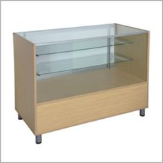 """Premiere Wood Full Vision Display Case $290.00 - 24 inches deep! - 24""""W x 48""""L x 36""""H - Color Options: Black, White, Oak, Cherry - Wood full vision display case - Durable melamine laminate surface - Adjustable glass shelves - Adjustable Metal Legs"""