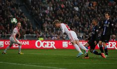 Viktor Fischer Photos Photos - Viktor Fischer of Ajax heads and scores the first goal of the game during the Eredivisie match between Ajax Amsterdam and SC Heerenveen at Amsterdam Arena on April 19, 2013 in Amsterdam, Netherlands. - Ajax Amsterdam v SC Heerenveen - Eredivisie