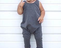 Mameluco de niño - Pañalero - mameluco gris del carbón de leña - gris traje de niño romper sólidos - Hipster ropa - mameluco de niño - niña mameluco del bebé - caída