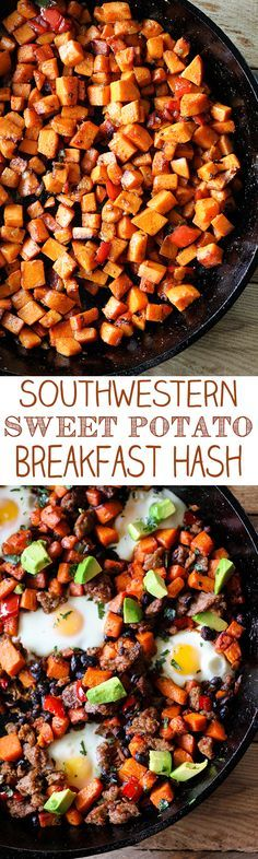 Southwestern Skillet Sweet Potato Breakfast Hash Collage Minus the black beans