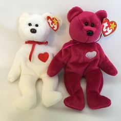Ty Beanie Babies Valentina and Valentino Teddy Bears With Tags Tush Swing Plush #Ty