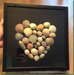Idea for shells from our beach trips .nautical/beach theme bathroom in new house? Maybe use sea glass! Beach Theme Bathroom, Beach Room, Beach Bathrooms, Bathroom Art, Beach Theme Office, Seashell Crafts, Beach Crafts, Diy And Crafts, Seashell Frame