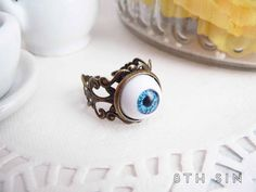 Antique Bronze Eyeball Ring Blue Eyeball Ring by 8thSinCreations