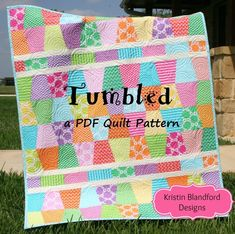 Cute Quilt Pattern Tumbled Charm Pack Baby Throw Size Tumbler Moda Fabrics Quick Simple Easy Beginner to Intermediate Quilting Sewing Cute Quilts, Scrappy Quilts, Easy Quilts, Quilting Projects, Quilting Designs, Quilting Ideas, Sewing Projects, Sewing Ideas, Modern Quilting