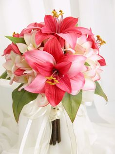 lily and cream light pink frangipani mix bridal bouquets - silk  All ivory