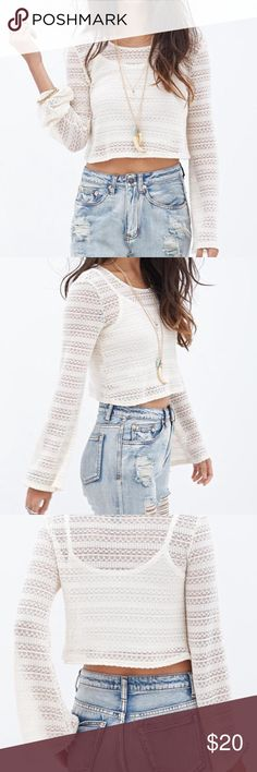 Boho Knit Crop Top Bell sleeves, no undershirt  Size Medium  NWT, perfect condition. Perfect for summer Forever 21 Tops Crop Tops