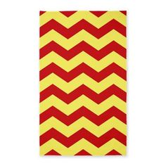 3 X5 Yellow And Red Chevron Area Rug Rugs