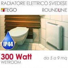 Radiatore elettrico svedese 300W Wetroom basso consumo IP44 fino a 9mq #radiatorisvedesi #bassoconsumo #riscaldamento #tego #casa