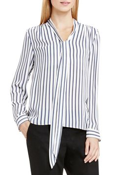 Cargo Stripe Tie Neck Blouse