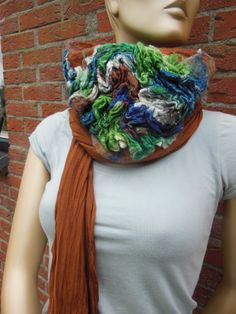 summerscarf wool & silk/linen felted on tricot by MAUVEstyl