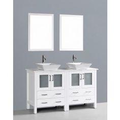 """Bosconi AW230S 60"""" White Double Vanity Set with Phoenix Stone Countertop"""