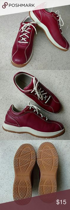 Rockport Stylish Sporty Sneaker Fun Cranberry Red with double rows of white top stitching. No dirt, no damage. No toe fungus or athletes foot.  Non slip sole shows no wear. Maybe worn 2 times! Rockport Shoes Sneakers