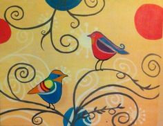 Paint Nite - Retro Birds. Use ORLANDOVIP at checkout for $20 off all tickets paintnite.com