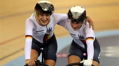 Kristina Vogel (L) and Miriam Welte of Germany congratulate each other after the women's Sprint Track Cycling final on Day 6 of the London 2012 Olympic Games at Velodrome
