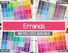 Errands Planner Stickers Headers  Erin Condren ECLP Happy