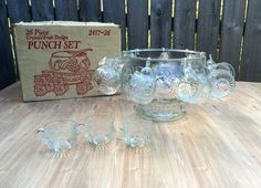 Vintage Crystal Punch Bowl with 12 cups by Vintagetinshed on Etsy