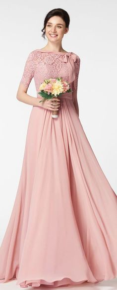 Rose color bridesmaid dress with sleeves