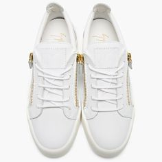 Leather Low Top Zipped Sneakers by Giuseppe Zanotti
