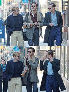 Dane DeHaan, Jack Huston & Ben Foster filming Kill Your Darlings in Brooklyn, March 19th 2012