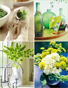 Bells of Ireland, mums, hydrangea, and hypericum