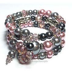 Personalized Photo Charms Compatible with Pandora Bracelets. Wrap Bracelet- Pink Gray Memory Wire Bracelet- Pearl Cuff Bracelet-... (£16) ❤ liked on Polyvore featuring jewelry, bracelets, wire bangle bracelet, cuff bracelet, pink bracelet, bridal bracelet and grey pearl bracelet