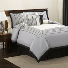 Lush Decor 4-Piece Villagio Comforter Set, King, Black/Silver by Lush Décor. $46.81. 100-Percent polyester. Dry clean. 100% Polyester. 4-Piece set includes: comforter 102-inch by 92-inch, bed skirt 78-inch by 80-inch with 145-inch drop, 2 pillow shams 36-inch by 20-inch. Enjoy this warm hotel design in any bedroom. Matching bed skirt and pillow shams complete this set.