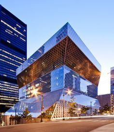 The OMA (Office for Metropolitan Architecture) commissioned Quinze & Milan to furnish the Seattle Public Library. The Seattle Public Library is the pub Library Architecture, Classical Architecture, Amazing Architecture, Contemporary Architecture, Architecture Design, Seattle Architecture, Rem Koolhaas, Public Library Design, Modern Library