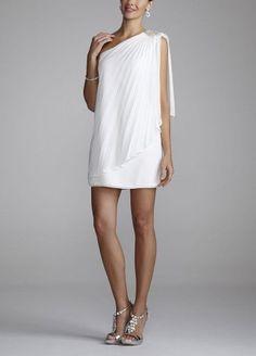 David's Bridal Wedding Dress: Short One Shoulder Beaded Chiffon Style XS3106: http://www.amazon.com/Davids-Bridal-Wedding-Dress-Shoulder/dp/B007P6MVEA/?tag=wwwcert4uinfo-20