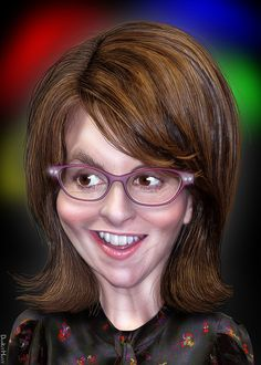 Tina Fey - Caricature by DonkeyHotey, Caricature From Photo, Caricature Artist, Caricature Drawing, Funny Caricatures, Celebrity Caricatures, Celebrity Drawings, Cartoon Faces, Funny Faces, Cartoon Art