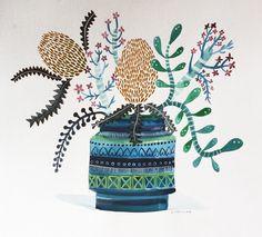 Bitossi vase of banksias and succulents sally browne bluethumb art Australian Wildflowers, Australian Native Flowers, Protea Art, Inspiration Art, Retro Art, Watercolor Art, Watercolour Flowers, Whimsical Art, Botanical Art
