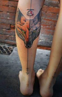 .Two Fox Face Love fox tattoos