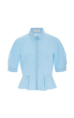 Short Sleeve Collared Blouse by DELPOZO Now Available on Moda Operandi