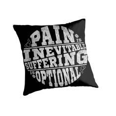 """Hockey, Pain is Inevitable Suffering is Optional"" Throw Pillows by gamefacegear 