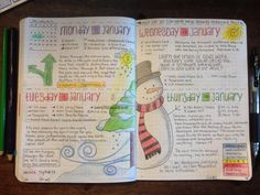 bullet Journal junkies * FB daily layout - love the snowman and christmas tree doodles - #holiday #christmas #doodles