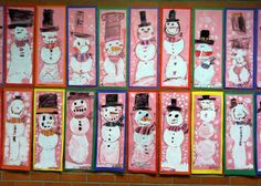 Kindergarten Snowmen - crayon and tempera paint