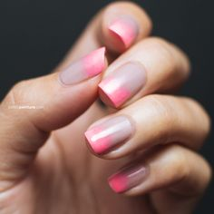 Neon + Grey ombré nails
