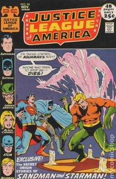 Items similar to Justice League ; Vol 94 comic, Merlyn book. 1971 DC, VF+ on Etsy Comic Book Villains, Dc Comic Books, Comic Book Covers, Comic Art, Marvel Comics Superheroes, Dc Comics, Aquaman, Justice League Comics, Classic Comics