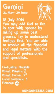Gemini Daily horoscope for 18th July 2014.