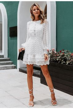 White Chiffon, Sheer Chiffon, Chifon Dress, Look Street Style, Lace Dress With Sleeves, Puff Sleeves, Vestidos Vintage, Short Dresses, Lace Dresses