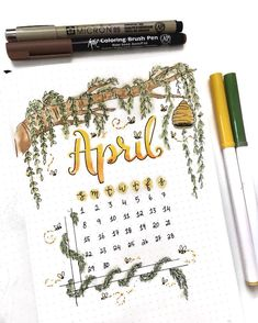 Bullet journal monthly cover page, April cover page, hand lettering, tree branch drawing, leaf drawing, beehive drawing, bees drawing. | @couleursduvent