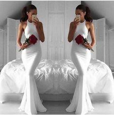 Elegant Prom Dress,White Prom Dress,Mermaid Prom Dress,Fashion Prom