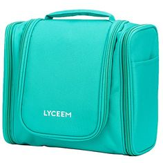 LYCEEM 3 Space Large Travel Toiletry Bag for Men  Women Tiffany Green  Hanging Toiletries Kit for Makeup Cosmetic Shaving Travel Accessories >>> Details can be found by clicking on the image.