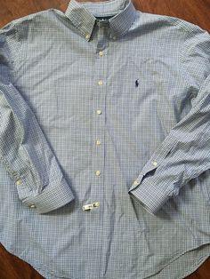 c7de0333e92 Ralph Lauren Button Shirt Sz XXL Blue White Plaid Classic Fit Long Slv  Unworn  RalphLauren