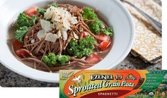 "Food For Live's Ezekiel Sprouted Whole Grain Spaghetti, Non GMO ""The Superheroes of the Vegan World!"" From our pastas and breads, to our cereals, tortillas and english muffins we literally strive to bring you the very best food for your life. Vegan Fast Food, Vegan Vegetarian, Healthy Pastas, Healthy Recipes, Yummy Recipes, Clean Eating, Healthy Eating, Eating Well, Healthy Food"