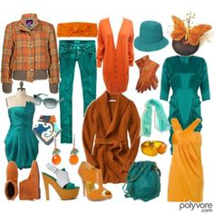 Teal and orange/yellow color combos