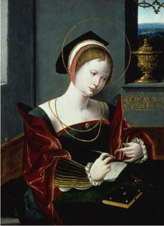 Workshop of the Master of the Female Half-Lengths, Saint Mary Magdalene writing