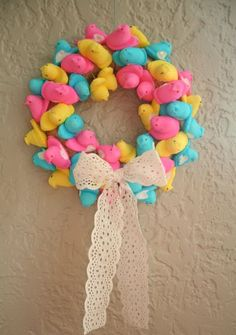Set out Easter chicks to harden. Glue them together in a circle form to create a wreath. Add a bow!!!
