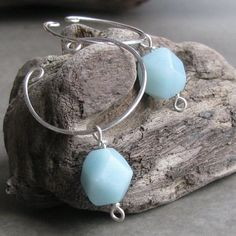 Beautiful! I wonder if I could wear these with a pair of pierced earrings so it would look like I have double pierced ears? Hmmm. Amazonite nonpierced sterling silver wire slip by AdroitJewelers,